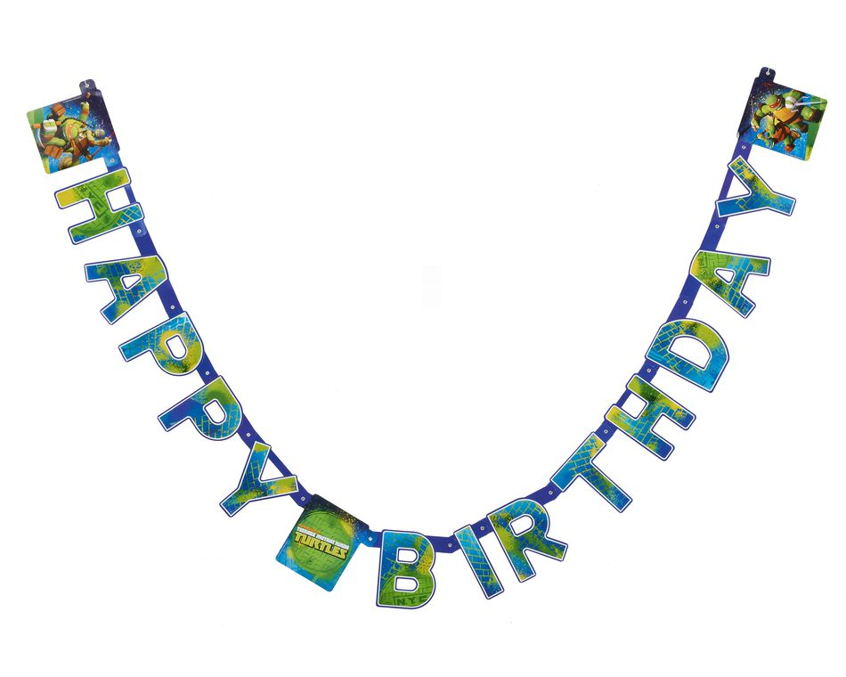 teenage mutant ninja turtles birthday banner sign