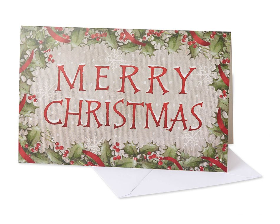 Christmas Lettering Boxed Cards and White Envelopes, 12-Count