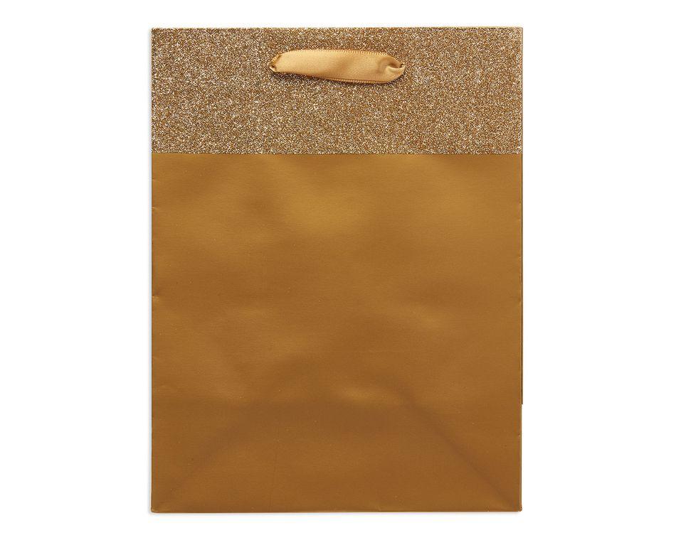 small gold glitter gift bag