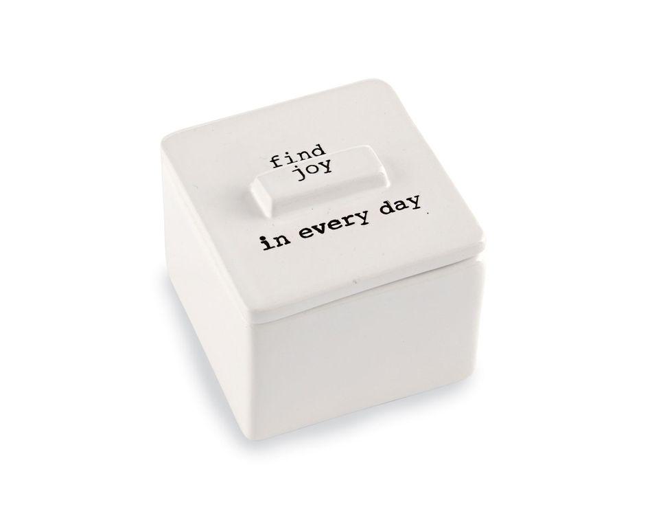 Mud Pie Find Joy Ceramic Trinket Box