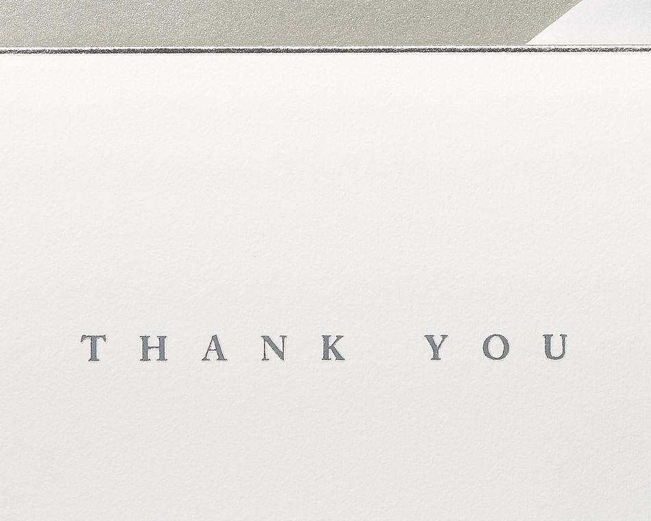 Silver Border Thank You Boxed Blank Note Cards and Envelopes, 16-Count
