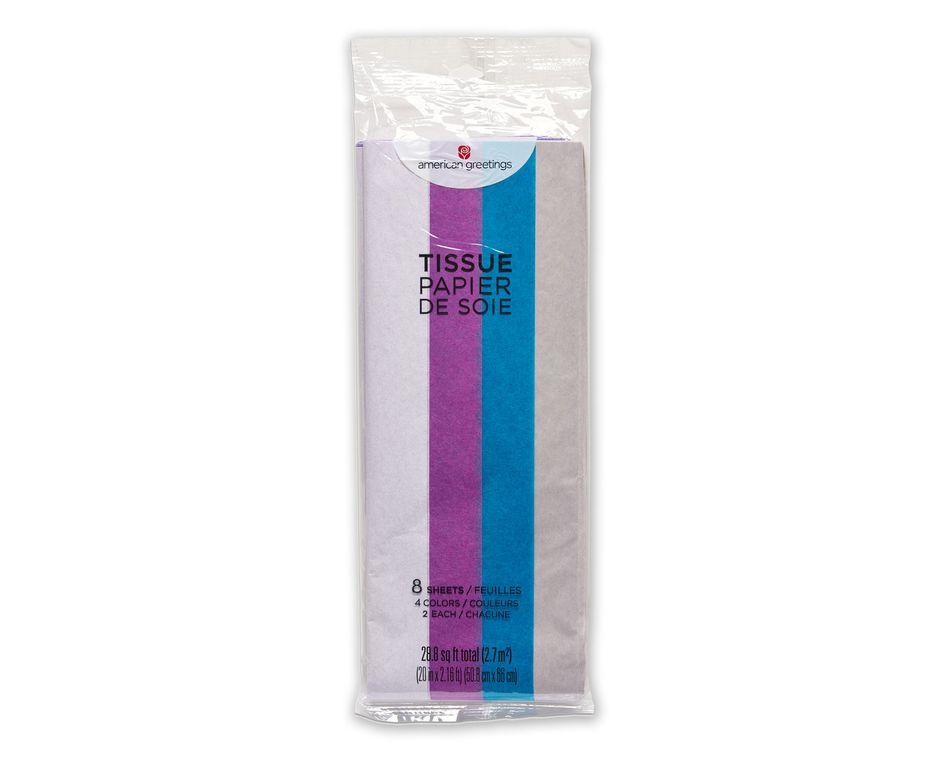 Cool Multicolored Tissue Paper, 8 Sheets