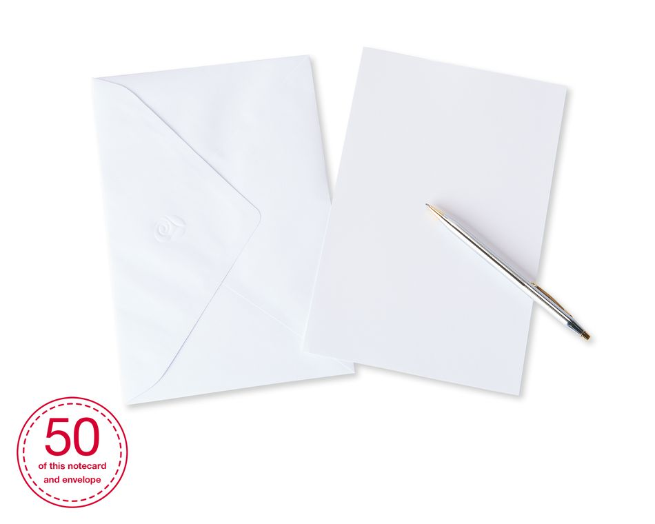 Blank White Stationery Sheets and White Envelopes, 50-Count