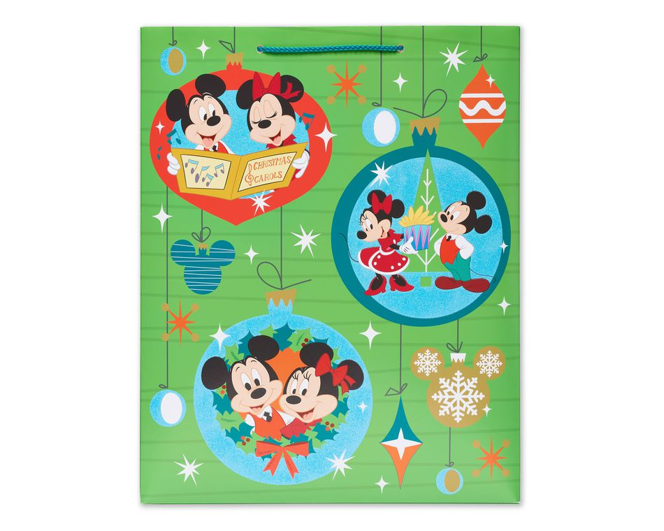 Mickey and Minnie Mouse™ Caroling Large Christmas Gift Bag ...