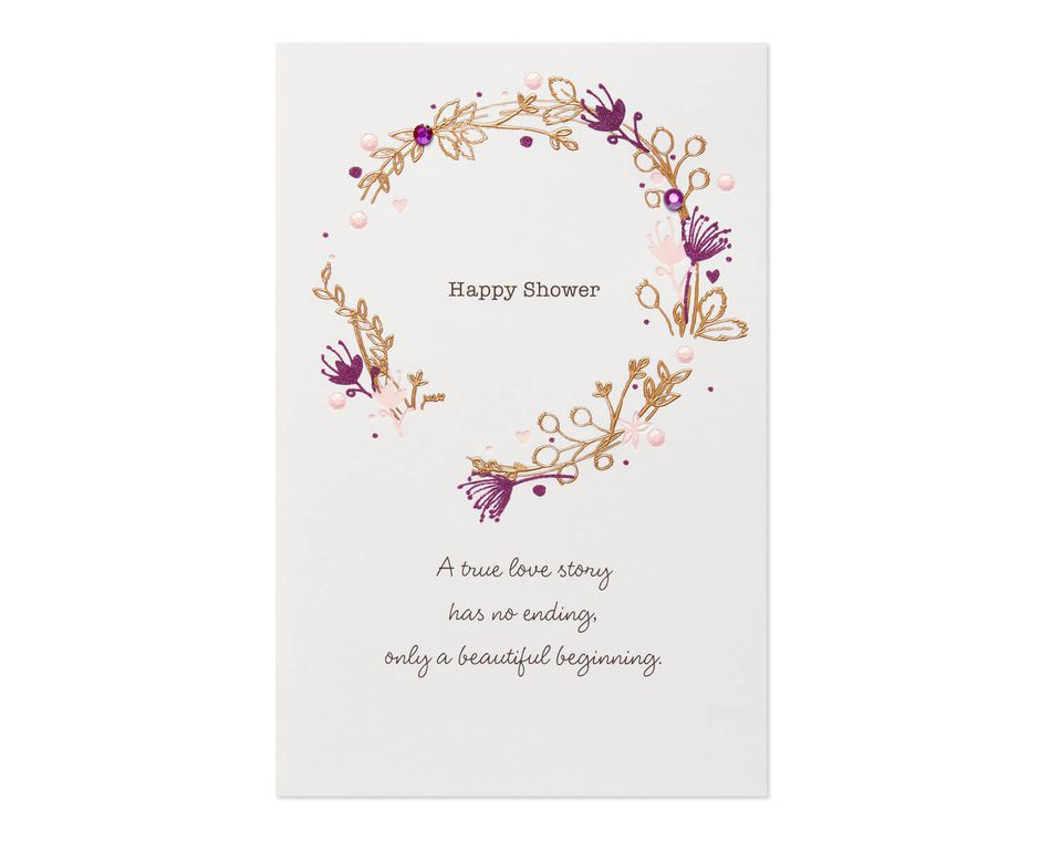 Wreath Bridal Shower Wedding Card