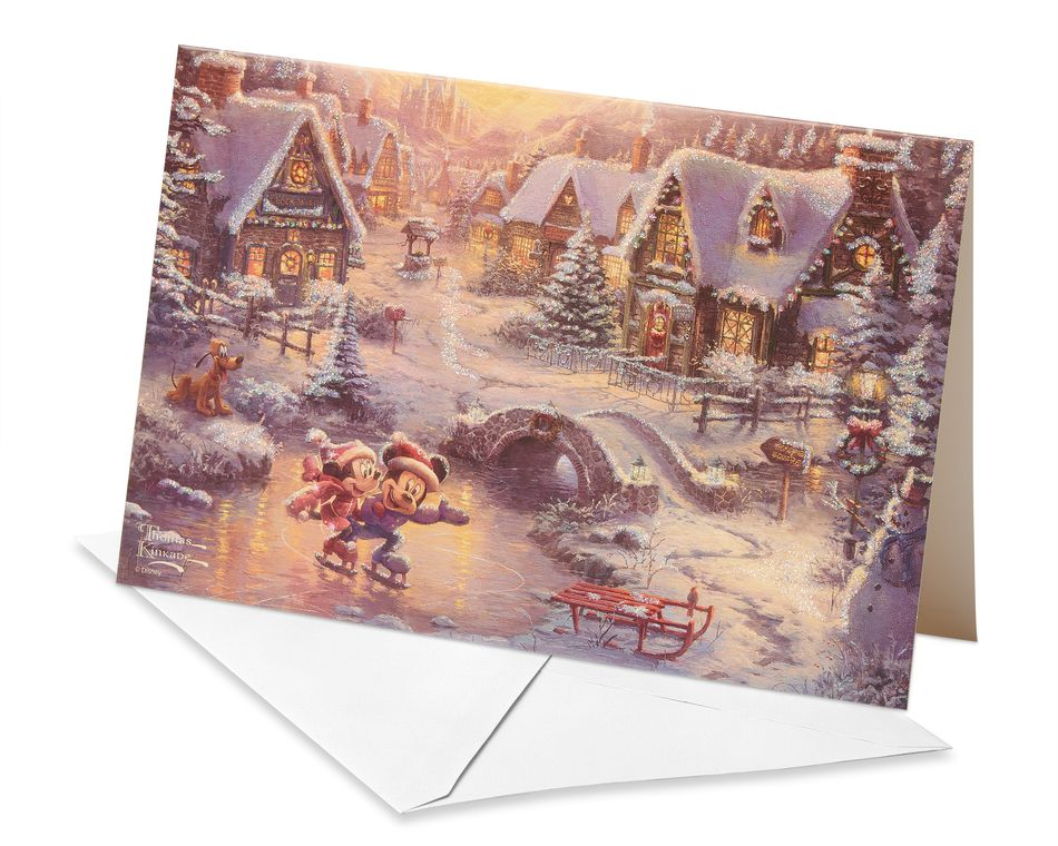 Deluxe Thomas Kinkade Mickey Mouse & Minnie Mouse Christmas Boxed Cards and White Envelopes, 14-Count