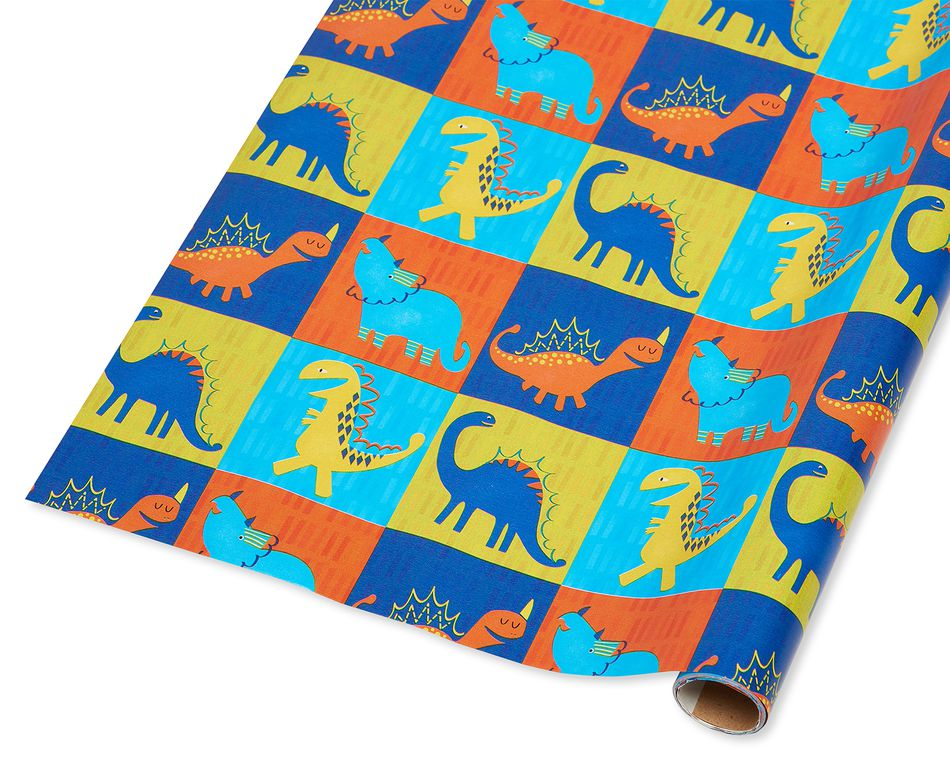 Dinosaur Blocks Wrapping Paper, 20 Total Sq. Ft.
