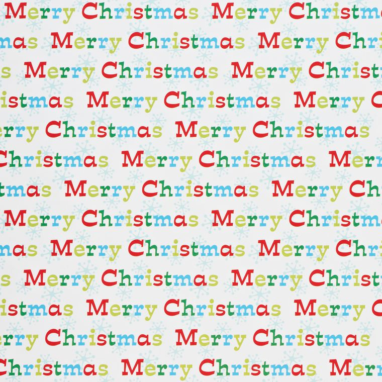 Christmas Wrapping Paper, Santa, 'Merry Christmas' Lettering, and Winter Characters, 3-Roll Pack
