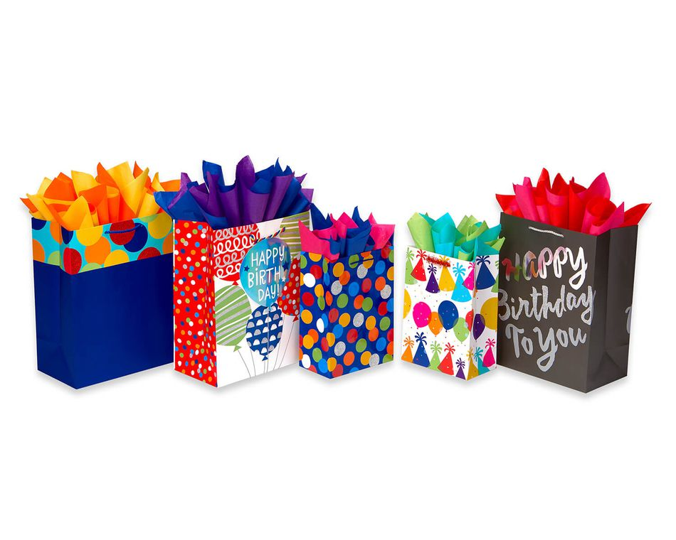 Birthday Gift Bag And Tissue Paper Bundle 5 Count