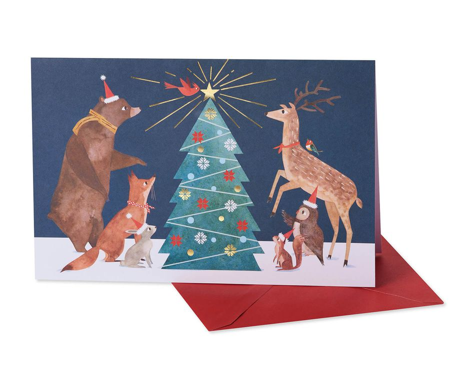 Forest Animals and Tree Christmas Boxed Cards and White Envelopes, 12-Count