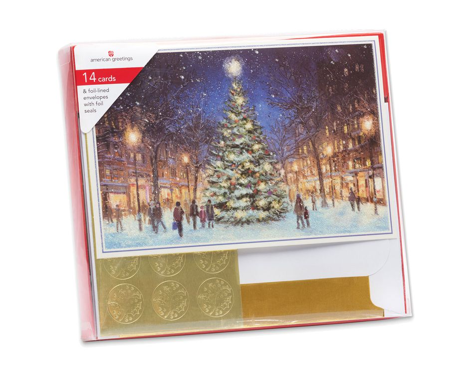 Snowy Town Center Christmas Boxed Cards, 14 Count