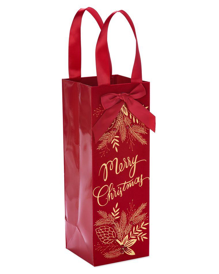 Floral Holiday Beverage Gift Bag