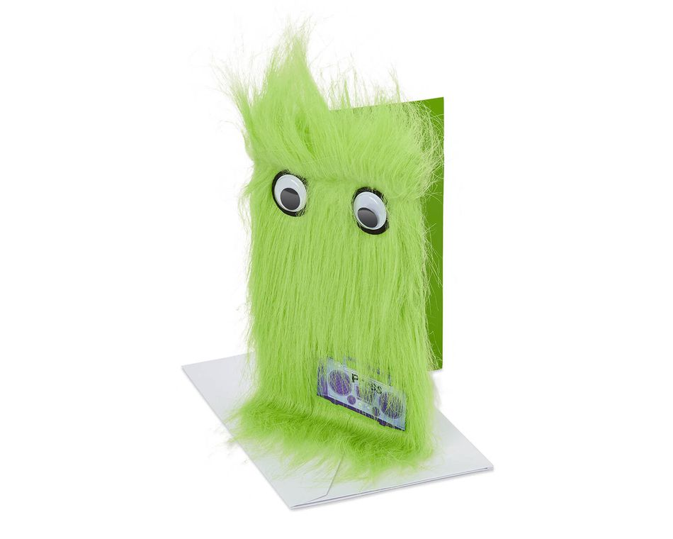Warm Fuzzy Wishes Green Boombox Greeting Card