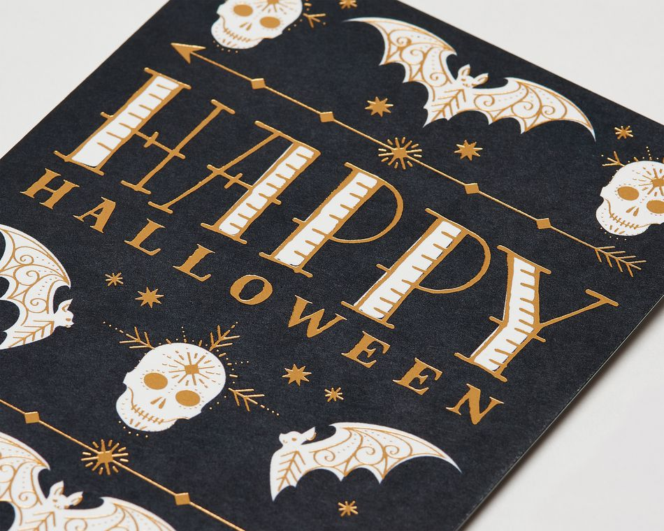 Bats and Skulls Halloween Card