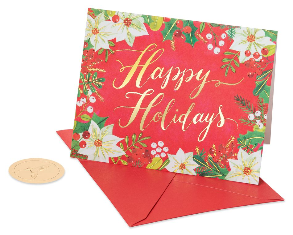 Happy Holidays Glitter Holiday Boxed Cards, 20-Count