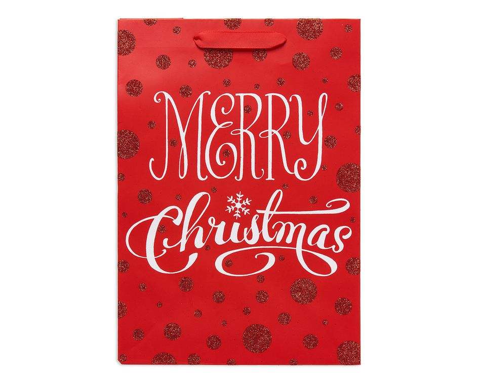 small red merry christmas gift bag
