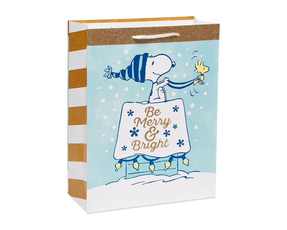 Snoopy Christmas Gold Glitter Medium Gift Bag