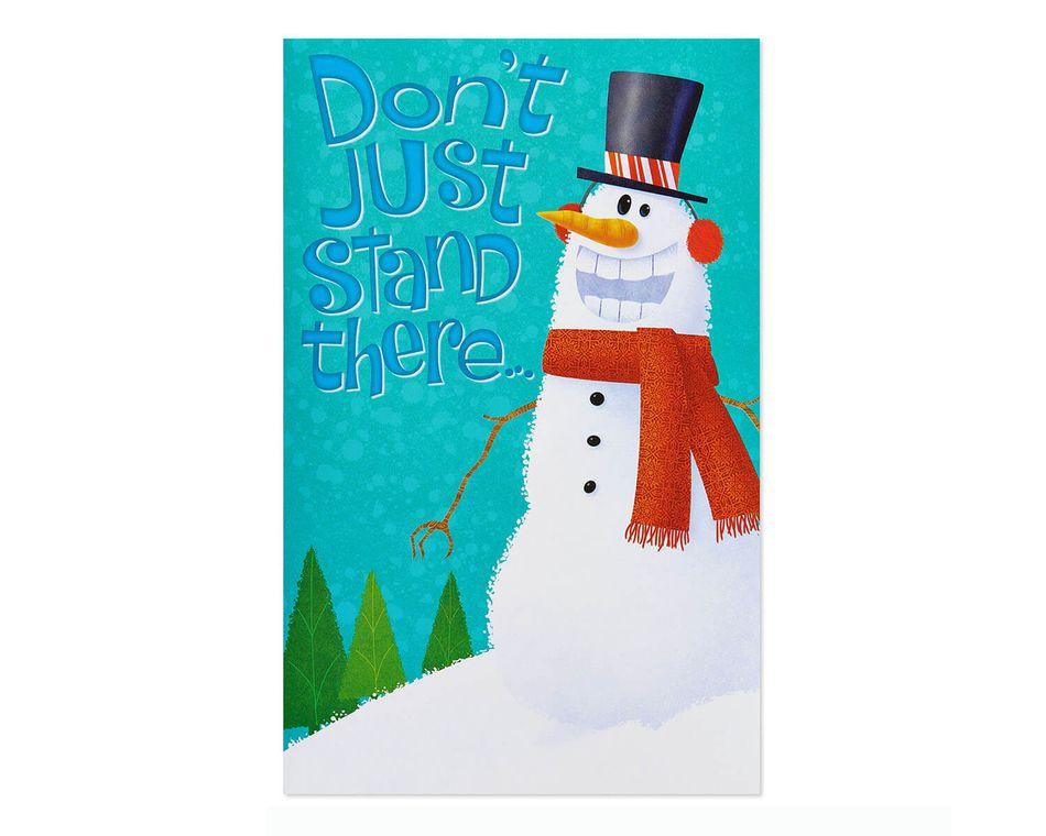 Dancing Snowman Christmas Card