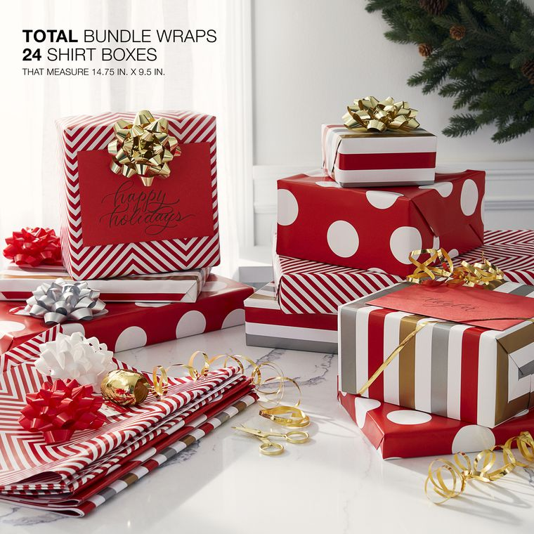 Christmas Wrapping Paper Sheets with Gridlines Bundle, Stripe, Polka Dot and Zigzag,  12-Sheets