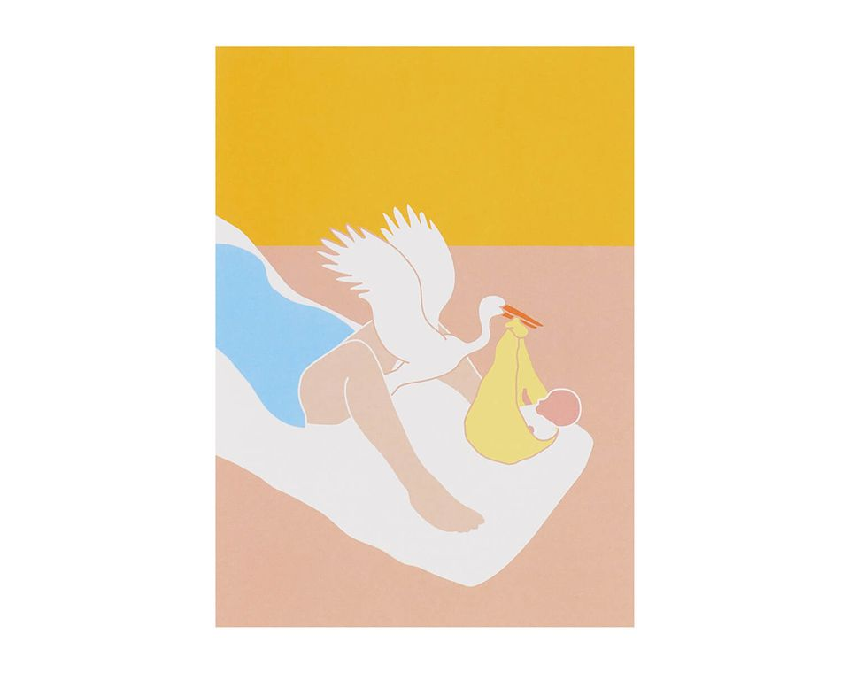 Stork Flying Out Baby Card