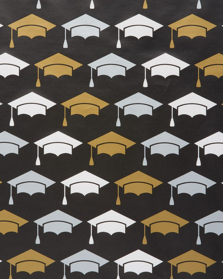 Graduation Caps Wrapping Paper, 2.5 Ft. x 2.66 Yd., 20 Total Sq. Ft.