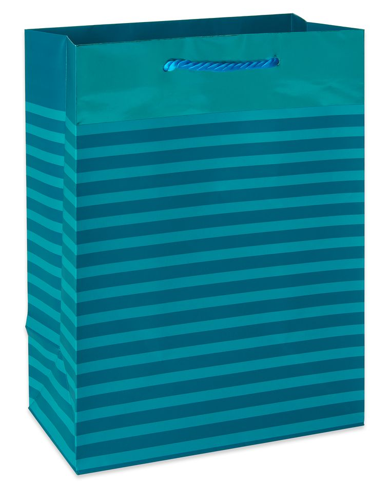 Medium Teal Geometric Pattern with Foil Gift Bag
