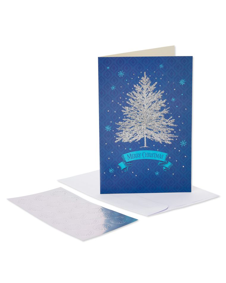 Silver Tree and Snowflakes Christmas Boxed Cards, 14 Count