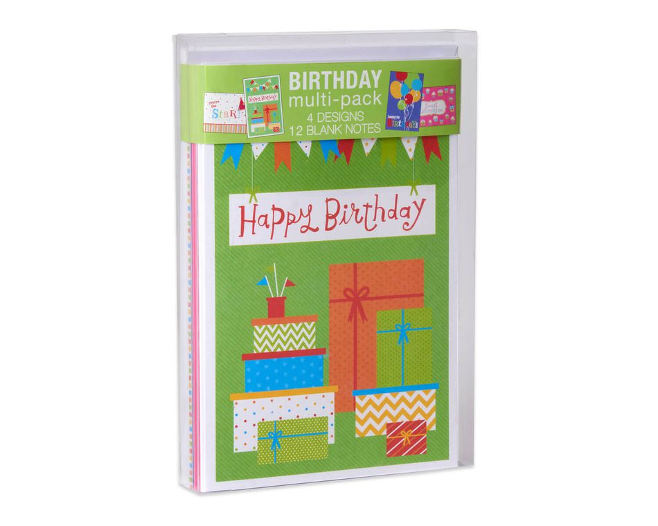 Cupcakes And Presents Assorted Birthday Cards Envelopes 12 Count