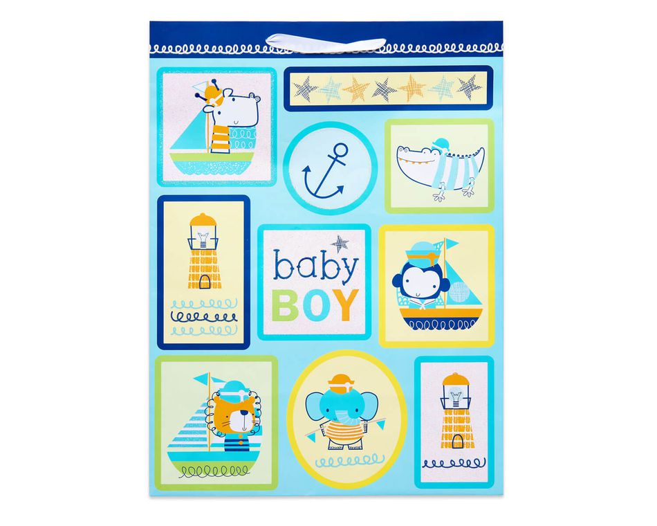 Jumbo Baby Boy Gift Bag, Nautical Icons