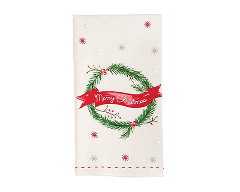Mud Pie Holiday Wreath Sequin Towel