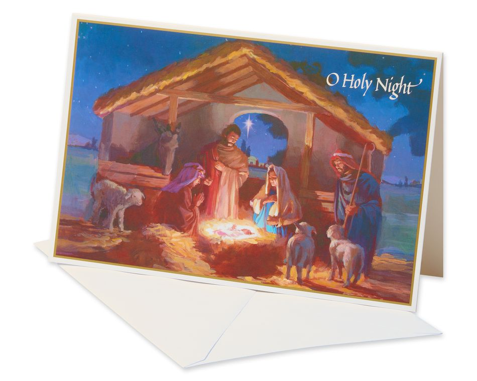Manger at Night Christmas Boxed Cards and White Envelopes, 14-Count