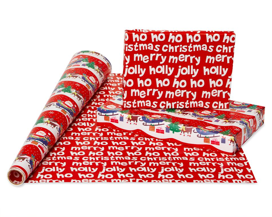 Christmas Reversible Wrapping Paper, Santa, Snowflakes, Snowmen and Characters, 4-Roll, 30