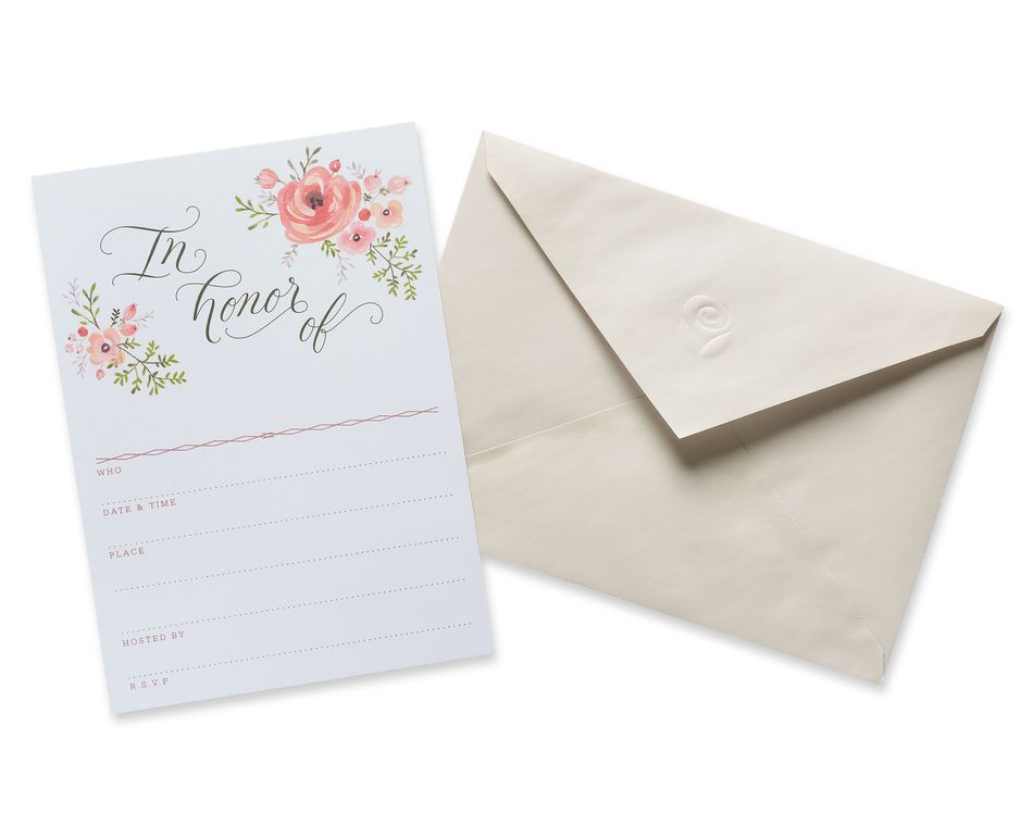 Floral Bridal Shower Invitations and Cream Envelopes, 20-Count