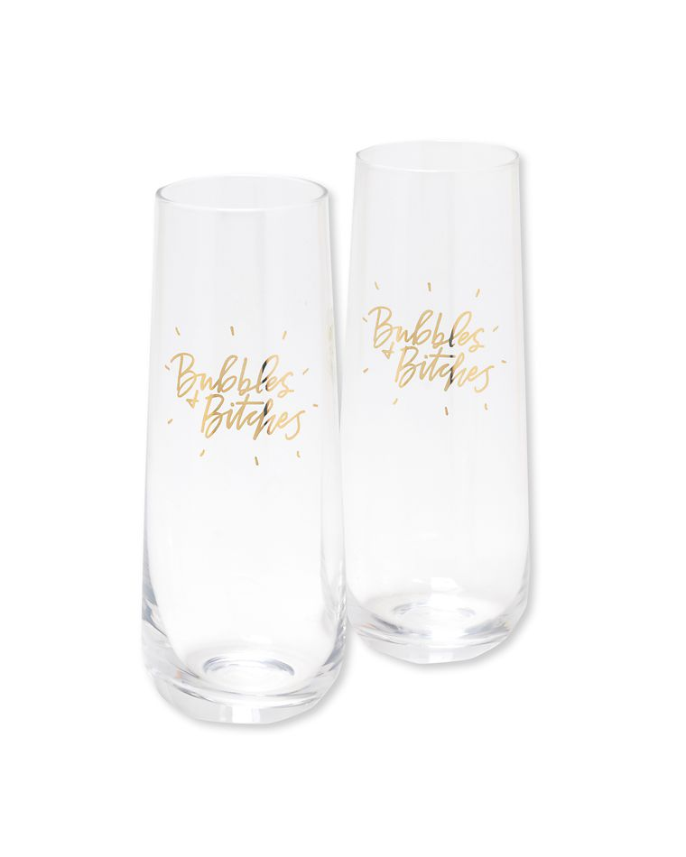 bubbles & bitches champagne glasses (set of 2)