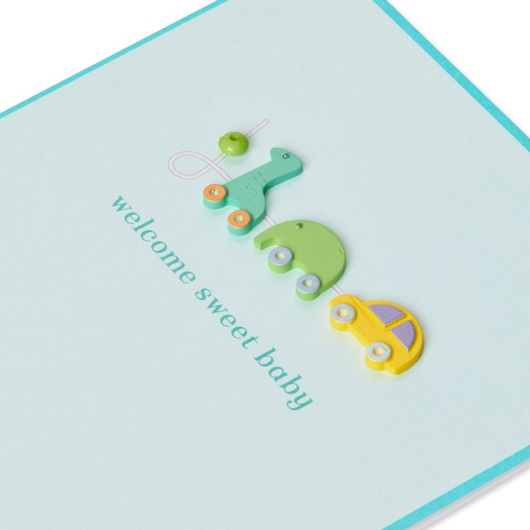 Pull-Toy Animals New Baby Greeting Card