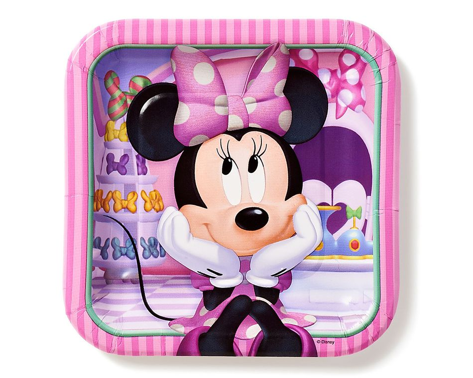 minnie mouse bow-tique dessert square plate 8 ct