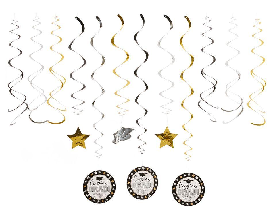Graduation Hanging Swirl Decorations, 12-Count