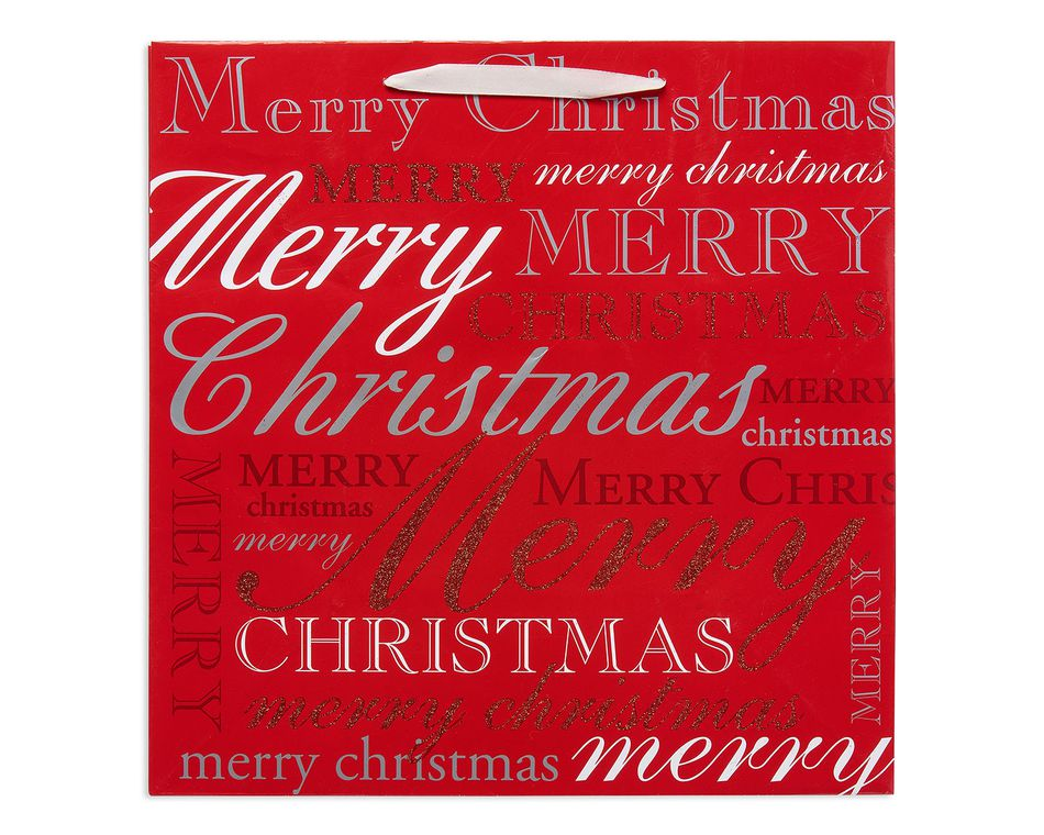 large christmas lettering gift bag