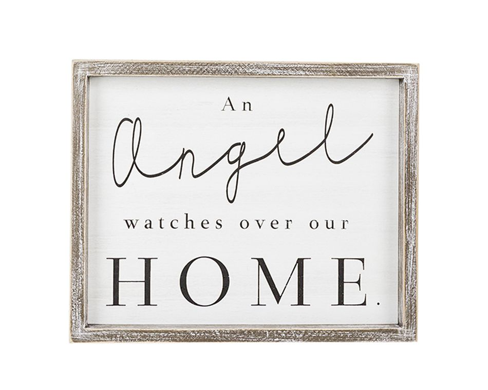 An Angel Watches Over Our Home' Wall Sign