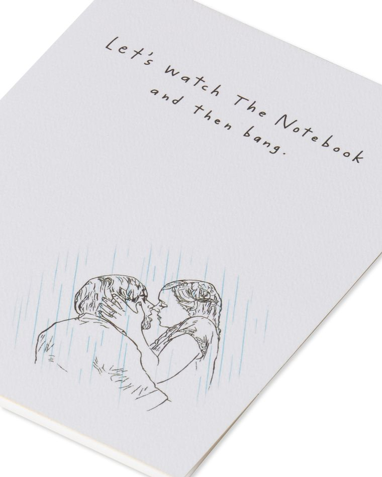 notebook and bang valentine's day card