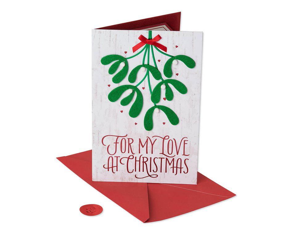 Christmas Card Greetings.Premier Romantic Mistletoe Christmas Card