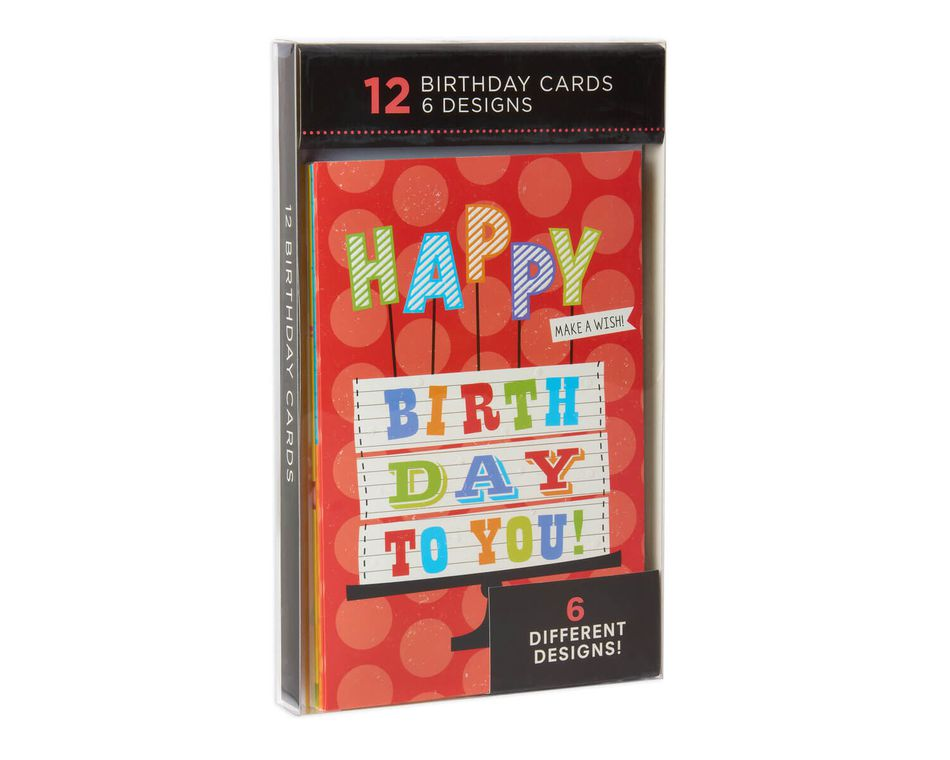 Assorted Bright Birthday Cards And Envelopes 12 Count