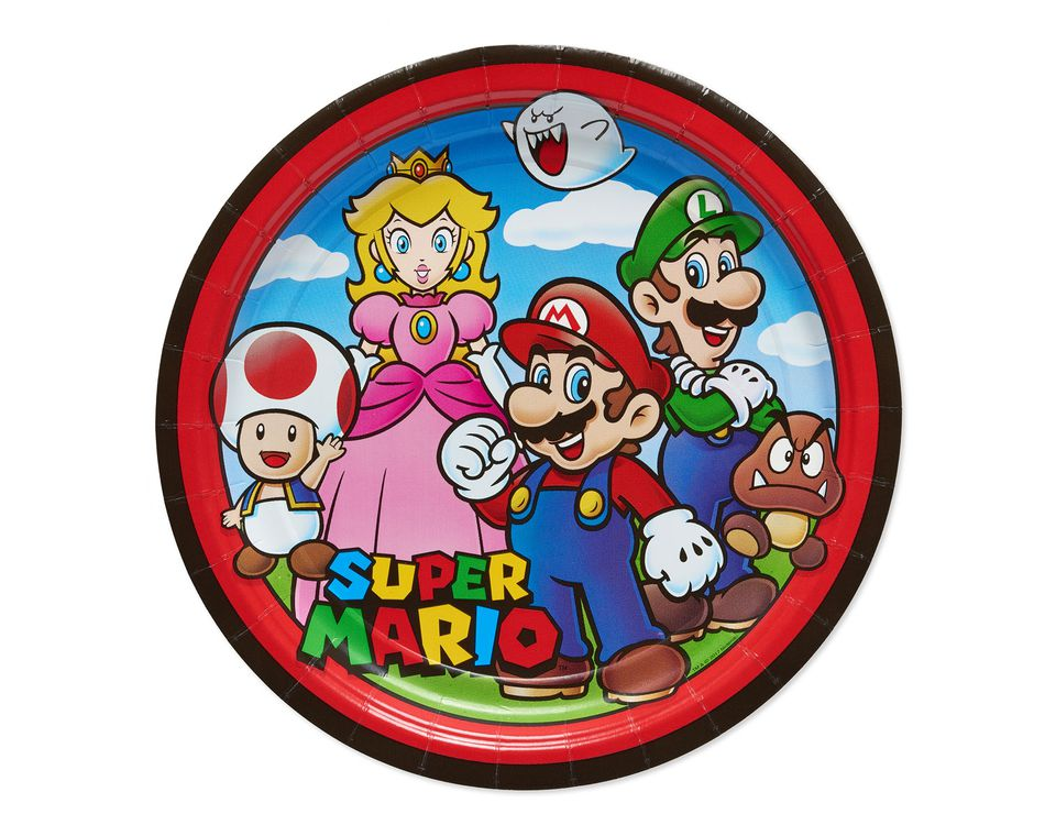 Super Mario 8-Count Dinner Square Plate