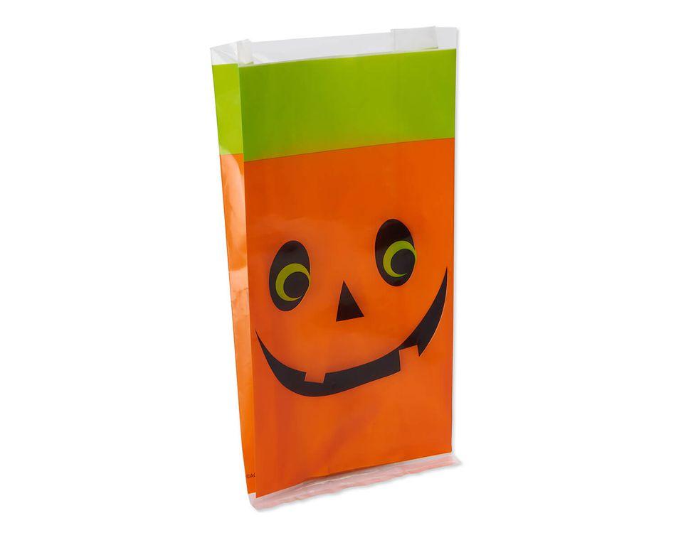 Pumpkin Halloween Plastic Treat Bags, 18-Count