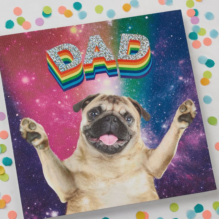 Rainbow Pug Father's Day Card