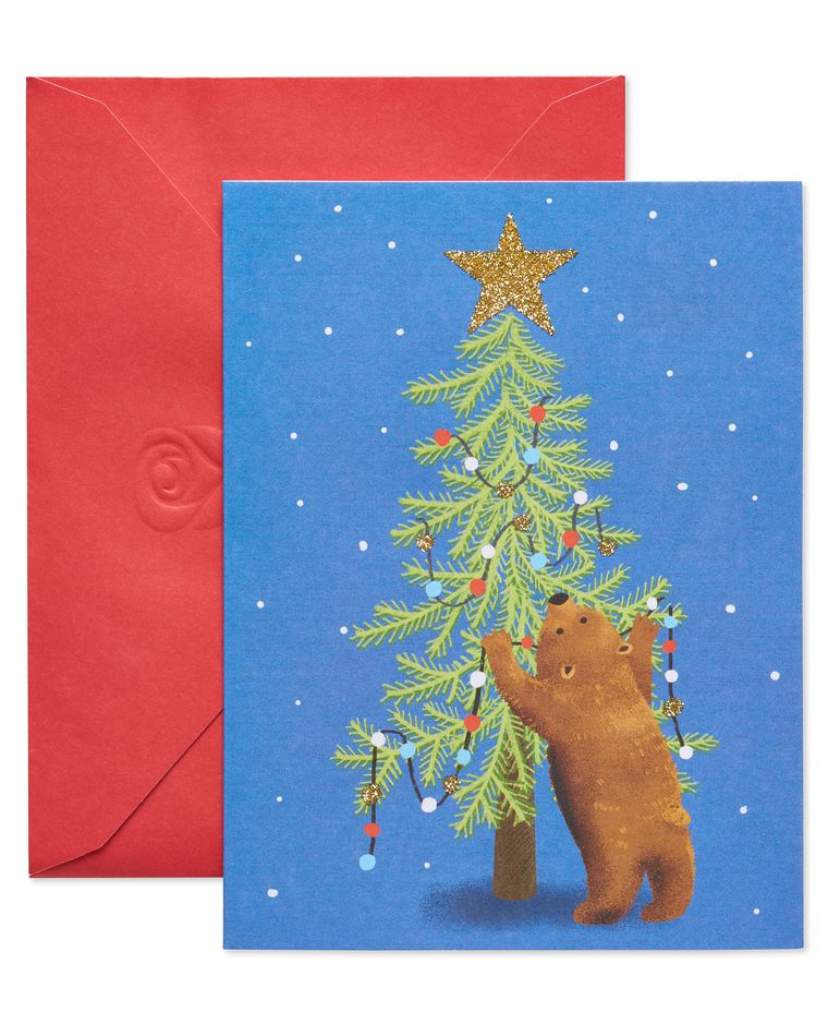 Bear Decorating Tree Christmas Blank Note Cards, 25 Count
