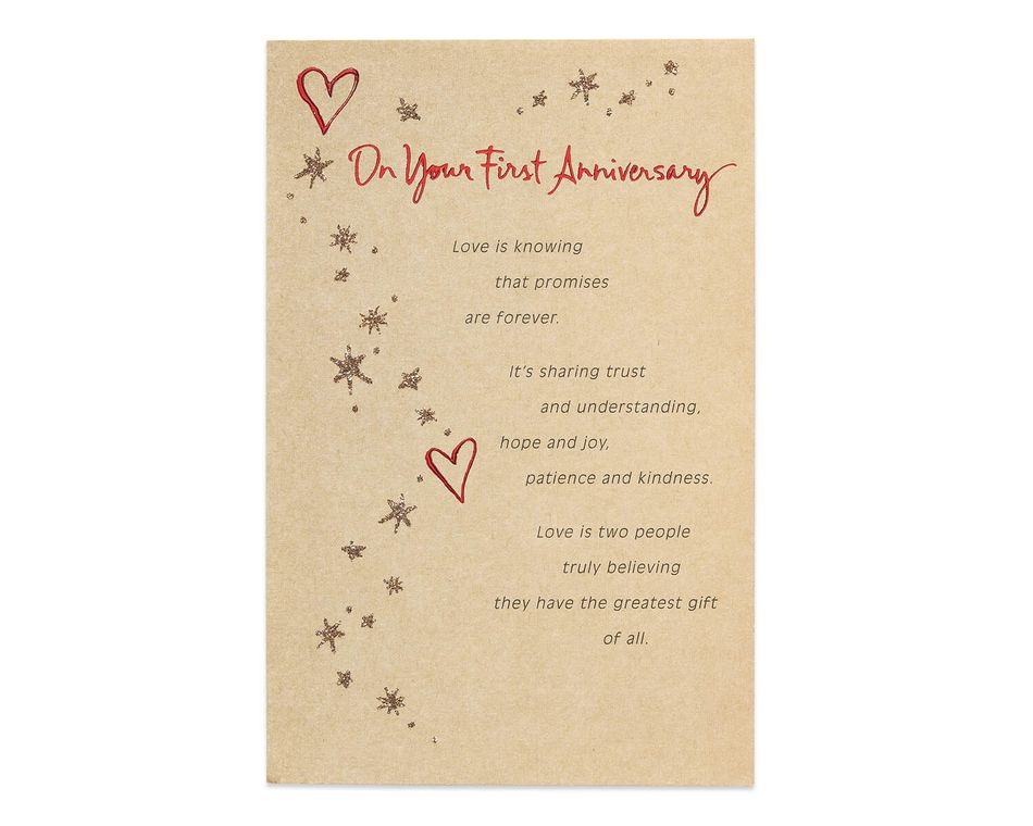 First Anniversary Card for Couple