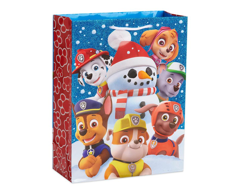 Paw Patrol Christmas.Medium Paw Patrol With Glitter Christmas Gift Bag