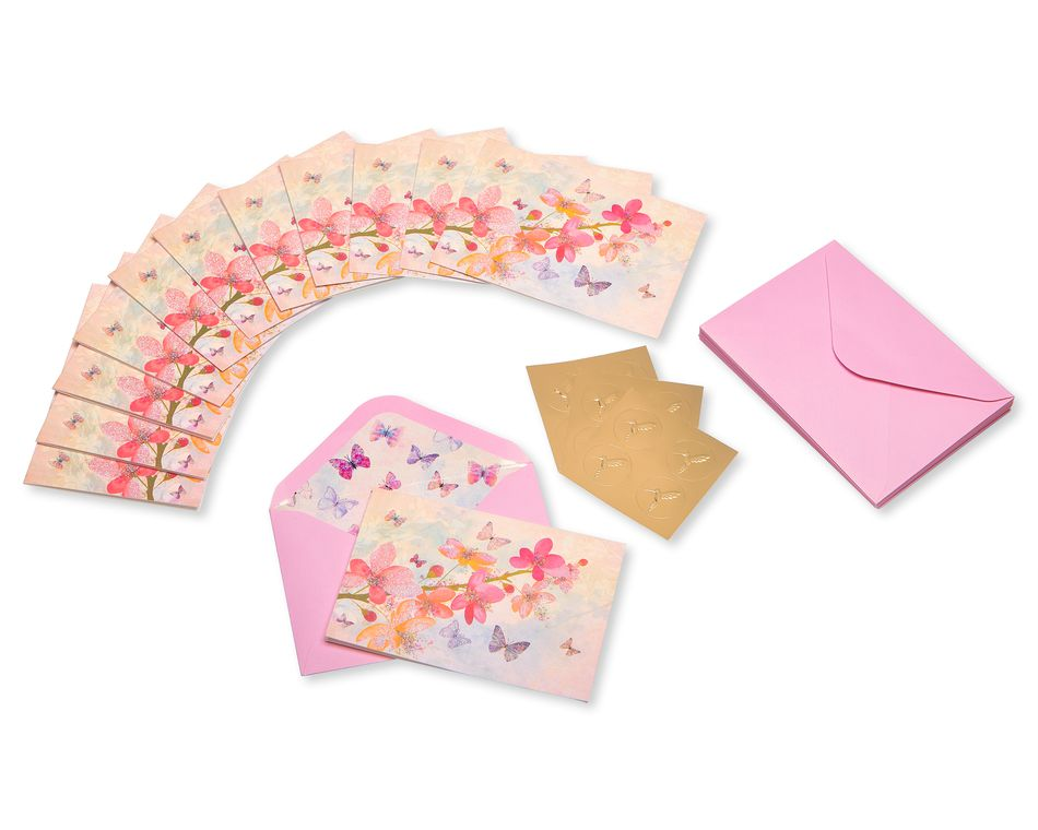 Scattered Blossoms Boxed Blank Note Cards with Glitter and Envelopes, 12-Count