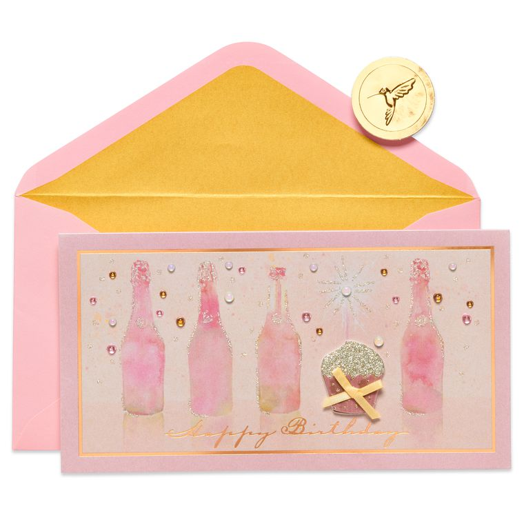 Champagne with Cake Birthday Greeting Card